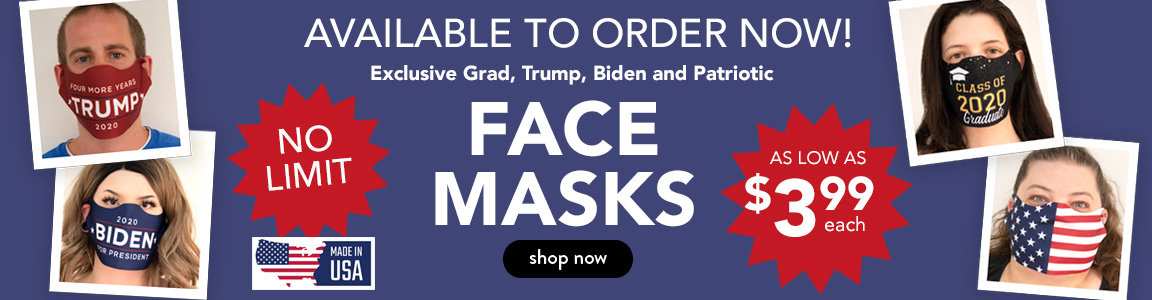Exclusive Trump, Biden, Graduate and Patriotic Face Masks Available Now