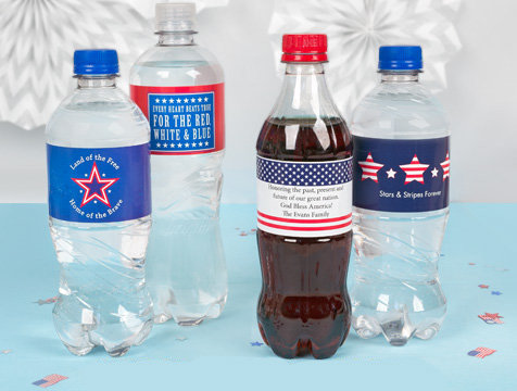 4th of July Water Bottle Labels