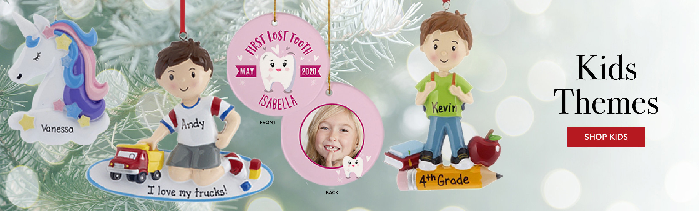 Personalized kid theme Christmas ornaments
