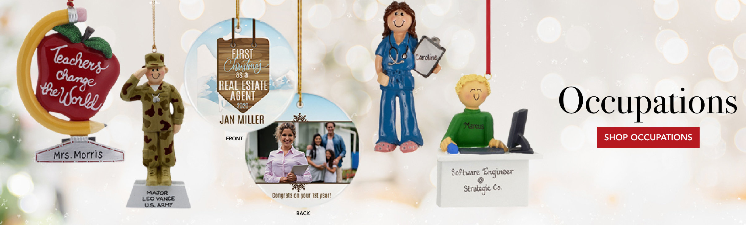 Personalized Occupation Christmas Ornaments