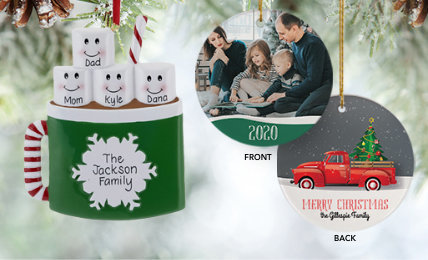 Personalized Family of 4 Christmas Ornaments