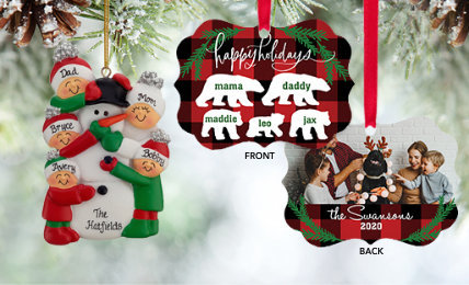 Personalized Family of 5 Christmas Ornaments