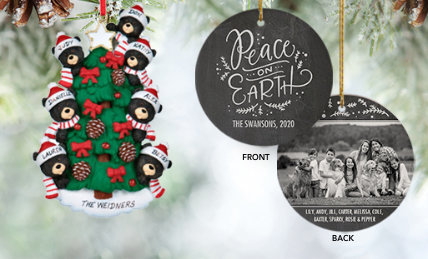 Personalized family of 7 plus Christmas ornaments