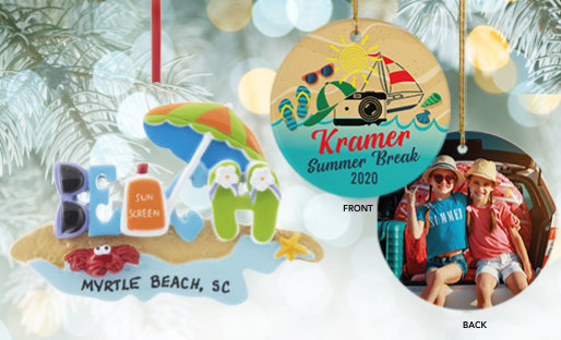 Personalized Beach Christmas Ornaments