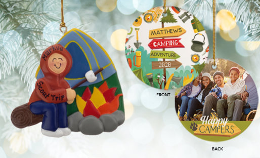 Personalized Camping Christmas Ornaments