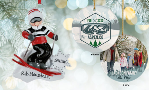 Personalized Ski Trip Christmas Ornaments