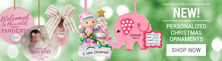 Personalized Baby Girl Christmas ornaments
