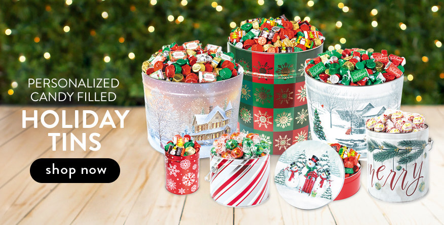 Personalized Christmas Candy Filled Tins