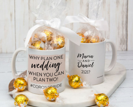 personalized candy filled wedding mugs