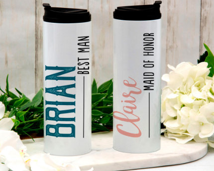 personalized wedding thermal tumblers
