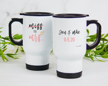 personalized wedding handle travel mugs