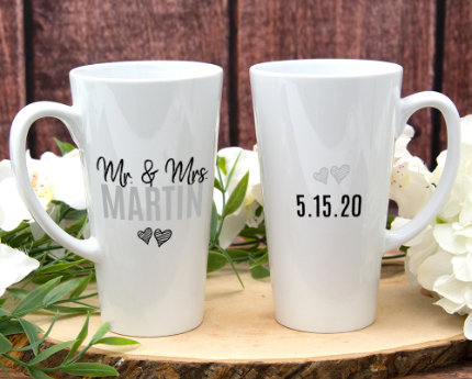 personalized wedding latte mugs