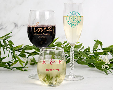 personalized wedding glassware