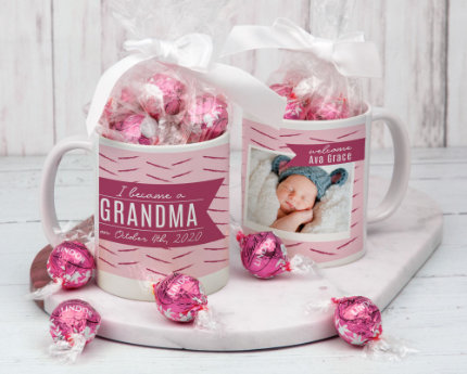 personalized candy filled family mugs