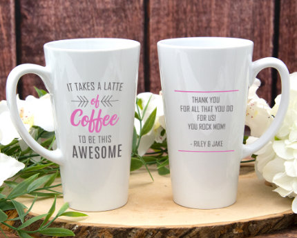 personalized birthday latte mugs