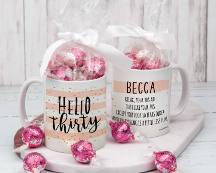 personalized CANDY FILLED birthday mugs