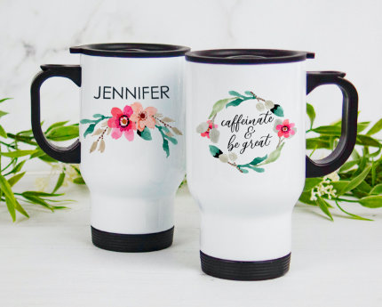 personalized themed handle travel mugs