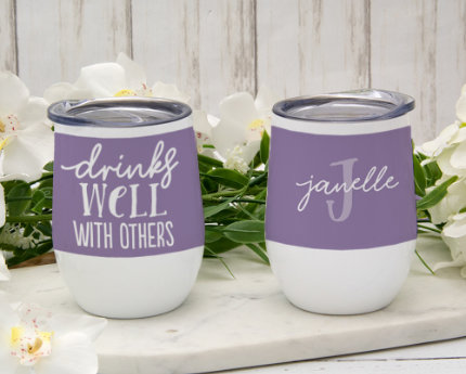 personalized themed wine tumblers