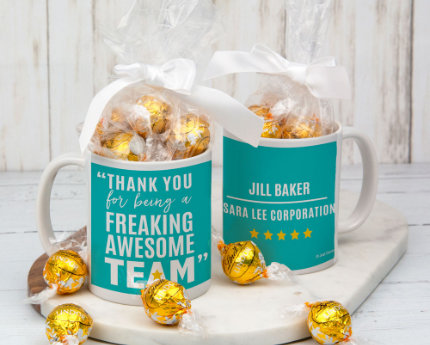 personalized business candy filledmugs