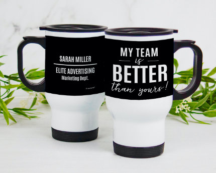 personalized business handle travel mugs