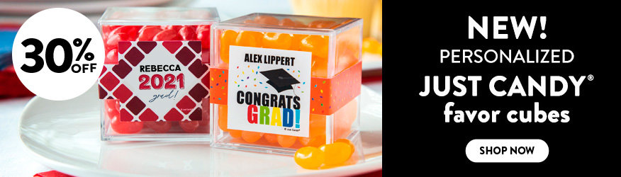 Shop our new Graduation Personalized JUST CANDY favor cubes