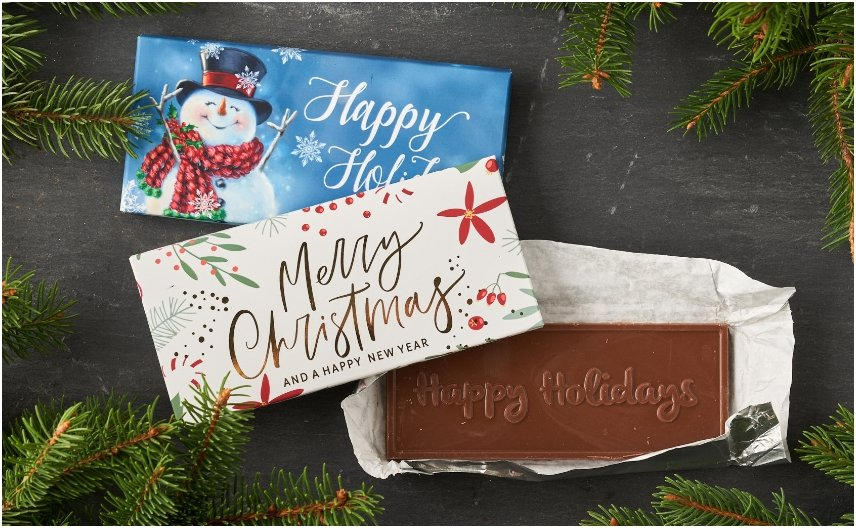 PERSONALIZED BOXED HOLIDAY CHOCOLATE BARS