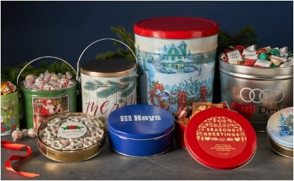 HOLIDAY CANDY FILLED TINS