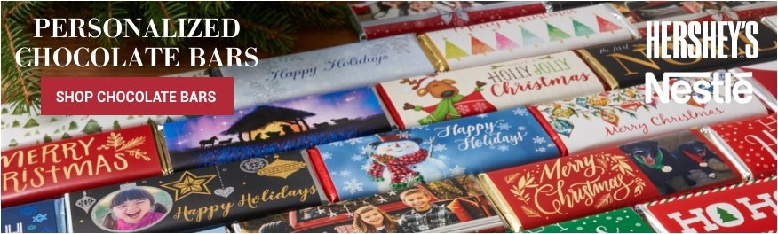 Personalized Wrapped Holiday Chocolate Bars