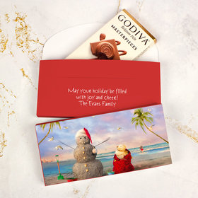 Deluxe Personalized Christmas Tropical Snowman Godiva Chocolate Bar in Gift Box