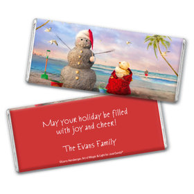 Personalized Christmas Tropical Snowman Chocolate Bar & Wrapper