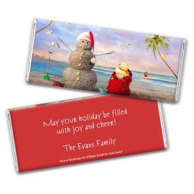 Personalized Christmas Tropical Snowman Chocolate Bar Wrappers Only