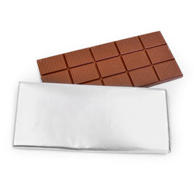 3oz Belgian Milk Chocolate Silver Foil Wrapped Bar