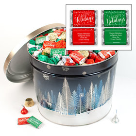 Personalized Crystal Evening 14 lb Happy Holidays Hershey's Mix Tin
