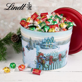Christmas Mail Happy Holidays 9.5lb Tin Hershey's Miniatures & Lindt Truffles