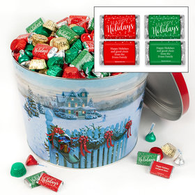 Personalized Christmas Mail 10 lb Happy Holidays Hershey's Mix Tin