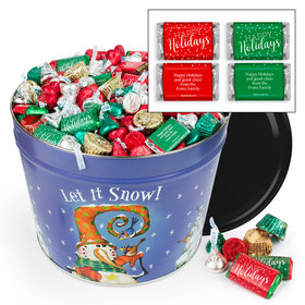 Personalized Frosty Friends 14 lb Hershey's Holiday Mix Tin