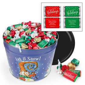 Personalized Frosty Friends 10 lb Hershey's Holiday Mix Tin