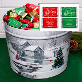 Personalized Snow Covered Mill 14 lb Happy Holidays Hershey's Mix Tin