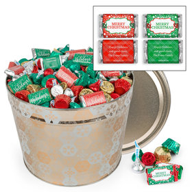 Personalized Shining Snowflakes 10 lb Merry Christmas Hershey's Mix Tin