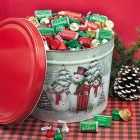 Personalized Hershey's Happy Holidays Mix Snow Family Tin - 14 lb