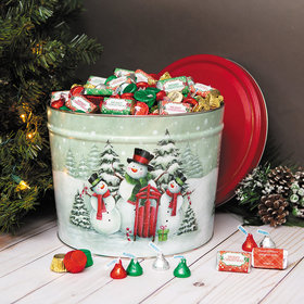 Personalized Hershey's Merry Christmas Mix Snow Family Tin - 14 lb