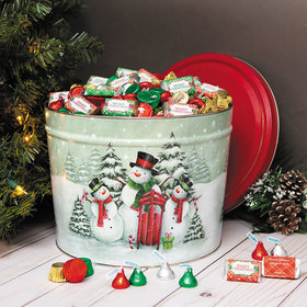 Personalized Hershey's Merry Christmas Mix Snow Family Tin - 10 lb