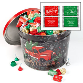 Personalized Tree Farm Truck 10 lb Happy Holidays Hershey's Mix Tin