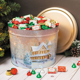 Personalized Hershey's Merry Christmas Mix First Homecoming Tin - 10 lb
