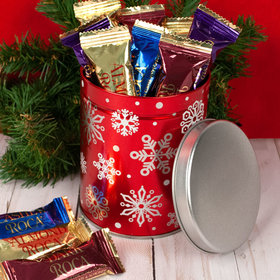 Red Snowflakes 1QT Tin with Roca Assortment