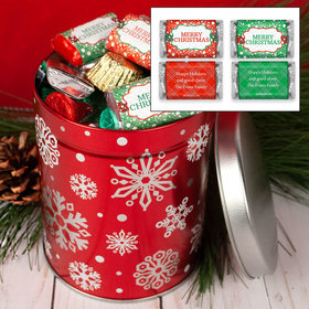 Personalized Red Snowflakes Hershey's Chocolate 1QT Tin with Merry Christmas Mix