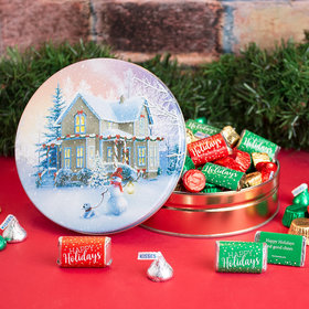 Personalized All Decked Out 1 lb Snow Family Hershey's Happy Holiday Mix Tin