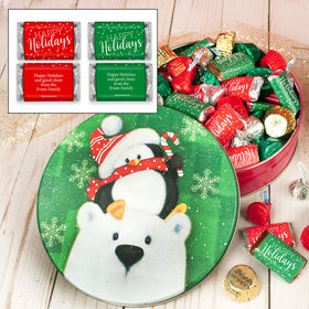 Personalized Cold But Cozy 1 lb Happy Holidays Hershey's Holiday Mix Tin
