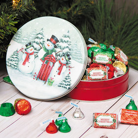Personalized Hershey's Merry Christmass Snow Family Tin - 1 lb
