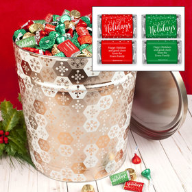 Personalized Shining Snowflakes 20 lb Happy Holidays Hershey's Mix Tin